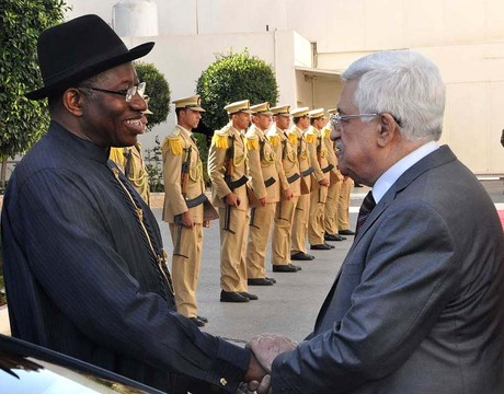 PRESIDENT GOODLUCK JONATHAN (L) WITH PRESIDENT MAHMUD ABBAS OF PALESTINE DURING HIS VISIT TO RAMALLAH ON TUESDAY