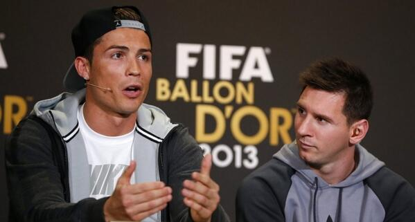 Ronaldo and Messi During the Fifa Ballon d'Or Interview.