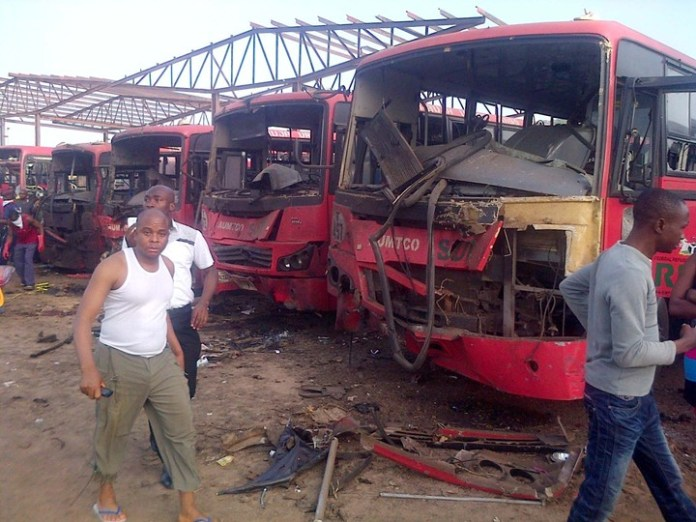SOME BUSES AFFECTED BY EXPLOSION AT NYANYA MOTOR PARK IN ABUJA ON MONDAY (14/4/14).