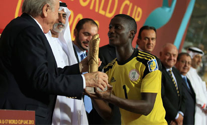 Dele Alampasu Gets A Hand Shake from Sepp Blatter.