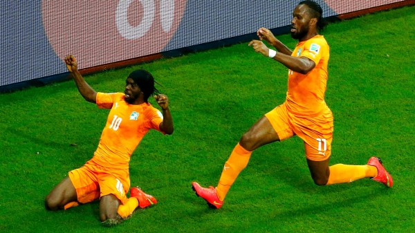 Gervinho Celebrates His Goal Against Japan With Team-Mate Didier Drogba. Image: Getty.