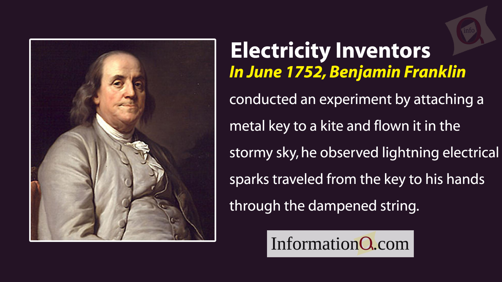 In June 1752, Benjamin Franklin conducted an experiment by attaching a metal key to a kite and flown it in the stormy sky