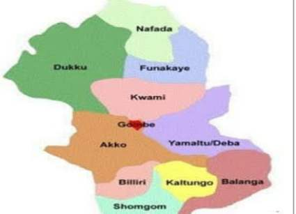 Gombe State Map Showing the Local Government Areas
