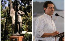 Develan estatua de 2.20 metros de Enrique Peña Nieto en Los Pinos
