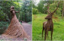 Artista llena un bosque con increíbles esculturas de tamaño real, hechas con ramas de sauce