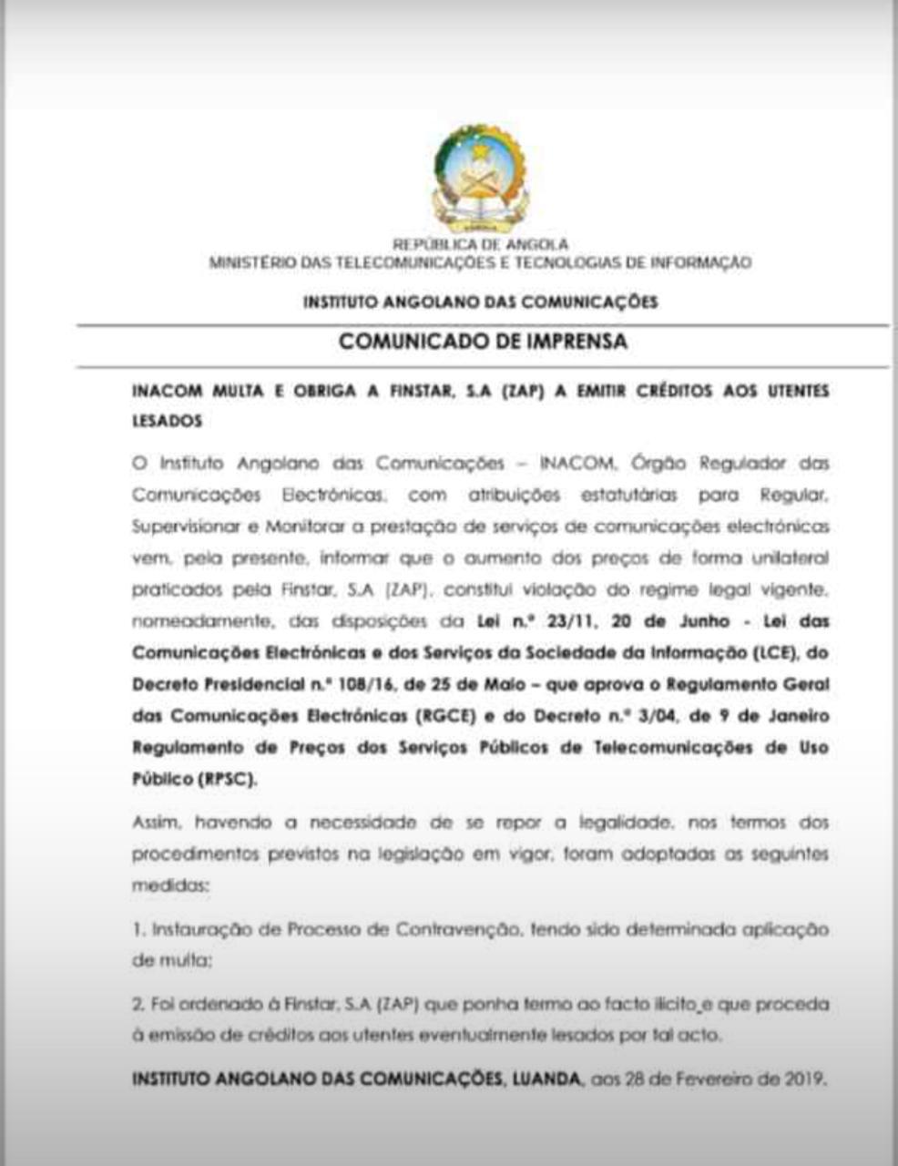 INACOM decide multar Zap pela subida dos preços