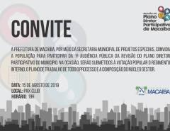Está chegando o dia da 1ª Audiência Pública da Revisão do Plano Diretor de Macaíba!