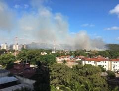 Incêndio atinge mata perto de casas da Vila de Ponta Negra em Natal