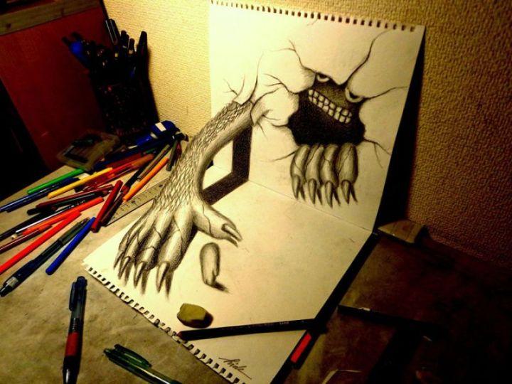 contoh gambar 3 dimensi monster