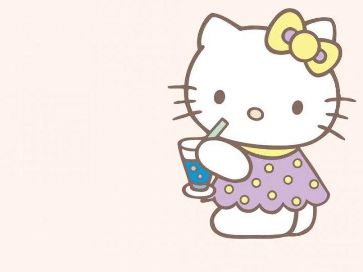 Background Hello Kitty lucu minum