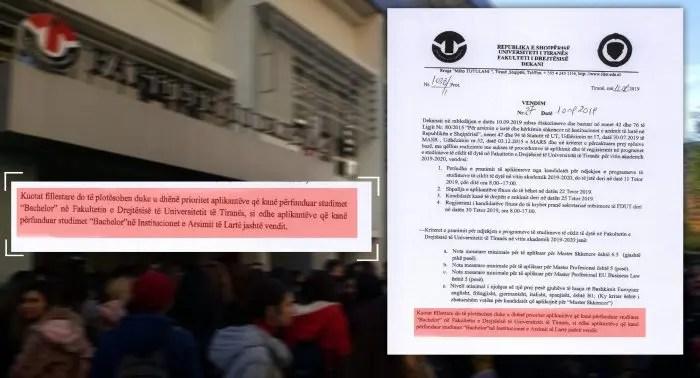 Fakulteti i Drejtësisë Tiranë diskriminon studentët …