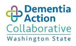 Dementia Action Collaborative logo featuring two multi-colored perpendicular links