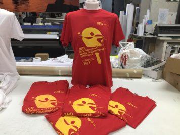 Serigrafia camisetas tecnicas rojas mundial de palas santander