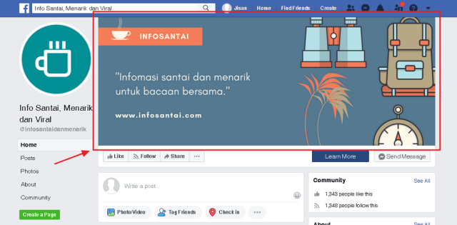 contoh cover photo page infosantai