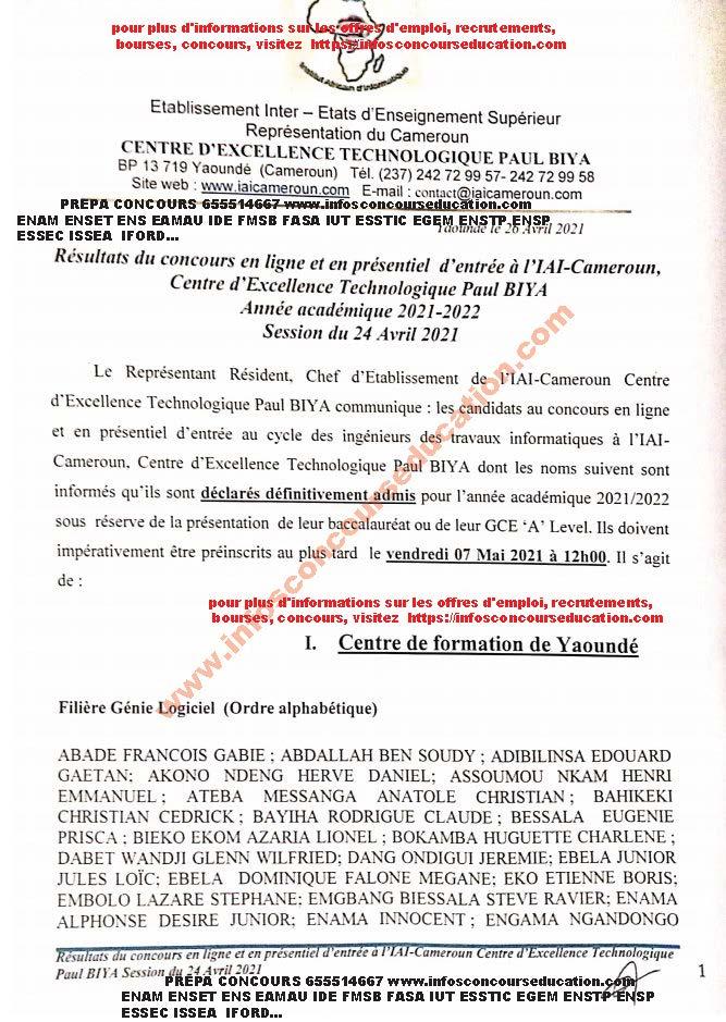 résultats définitifs du concours d'entrée à l'iai cameroun session d'avril 2021