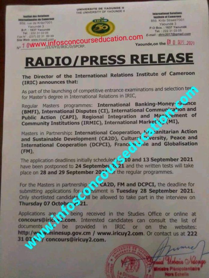 concours iric cameroun 2021: report des dates limites de dépot des dossiers et de épreuves écrites