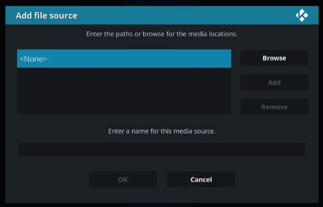 How to Click on none for kodi