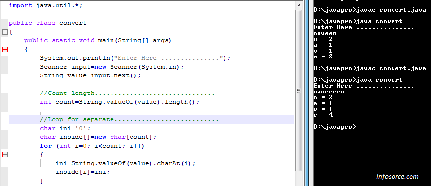 Count repeated characters in a string using java loop