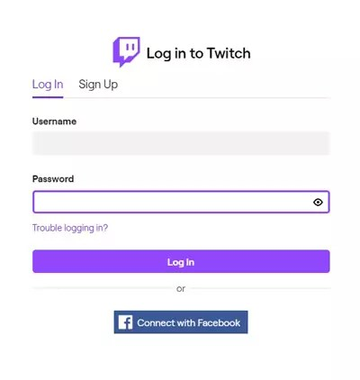 log in Twitch account