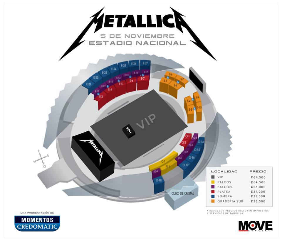 tickets for metallica in costa rica