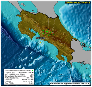 costa rica earthquake information