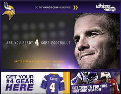 Vikings.com Screenshot Featuring Brett Favre -...