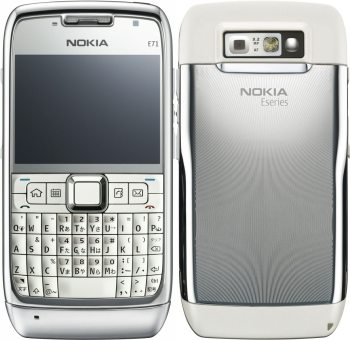 A Luxury White 18 K Gold Cell Phone By Nokia E71 1
