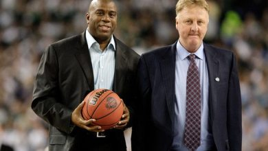 Photo of Larry Bird and Magic Johnson on Broadway