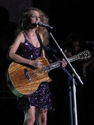 Taylor Swift performing at the Cavendish Beach...