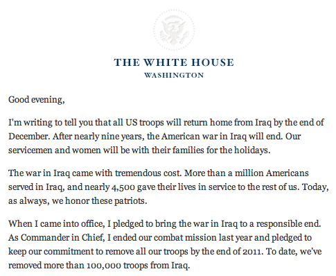 President Obama Speaks About Bringing US Troops Home 1
