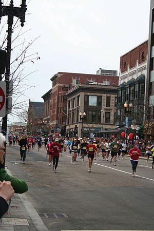 Boston marathon runners boylston st.