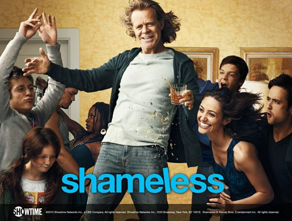 """Based on a long-running British drama, Shameless stars William H. Macy as the alcoholic patriarch of a big blue-collar family in Chicago, the Gallaghers. The mother is AWOL, and with the alcoholic patriarch (Macy) usually passed out on the living-room floor, their smart but unpredictable 18-year-old daughter, Fiona (Rossum), is tasked with keeping her five younger brothers and sisters on the straight and narrow."" sidereel.com"