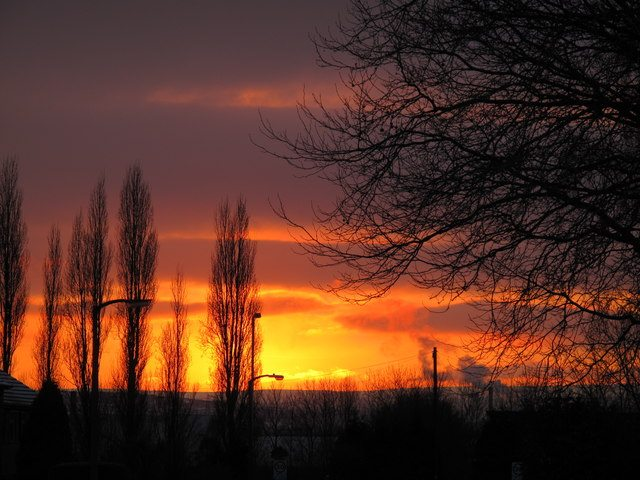 Factory smoke in sunset