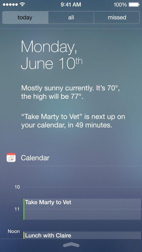 Notification Center in iOS 7