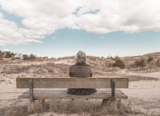 person on bench