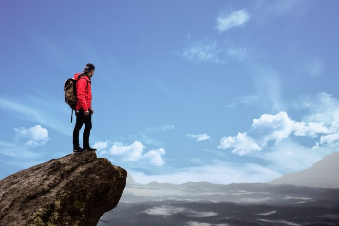 standing top of rock