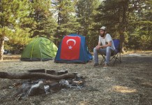 camping with tent
