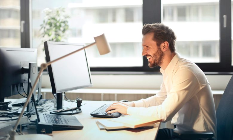 working at computer