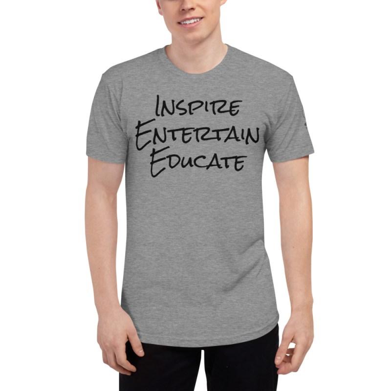 Inspire | Entertain | Educate Unisex Tri-Blend Track Shirt 1