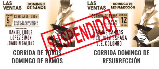 Suspendidas las corridas del 5 y el 12 de abril en Las Ventas