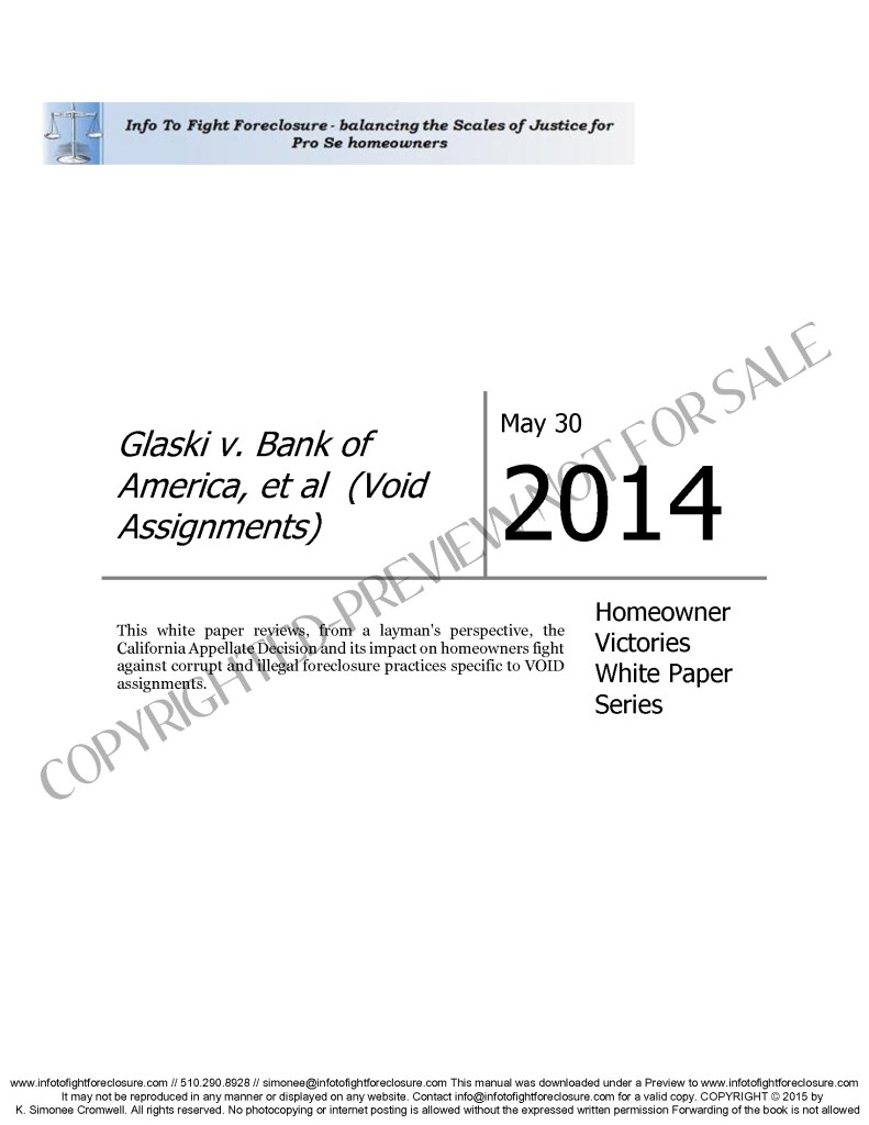 Preview Glaski v Bank of America – Homeowner Victory Paper