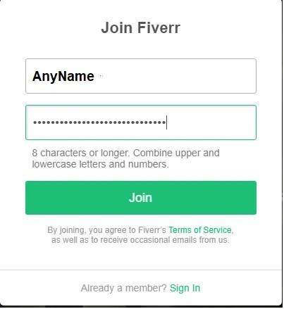 Fiverr set password