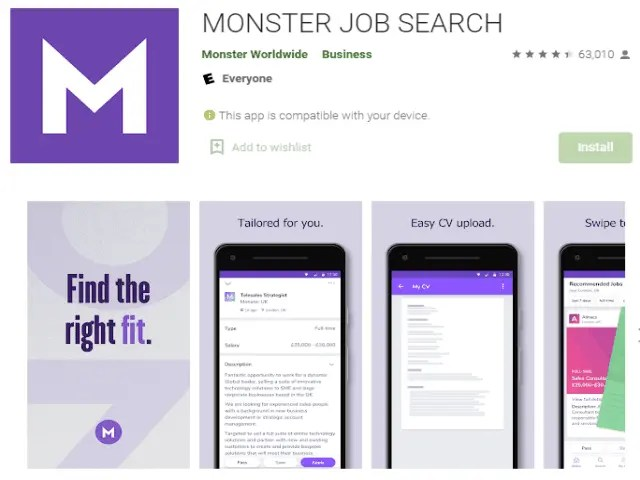 MONSTER JOB SEARCH Best job search apps
