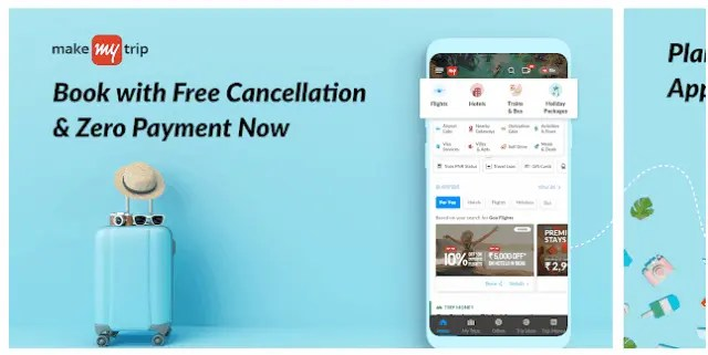 Best Hotel And Flight Ticket Booking Apps For Android 2021 MakeMyTrip Travel Booking Flights, Hotels, Trains