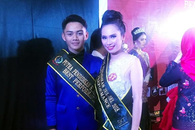 Thamrin dan Indriani terpilih sebagai best performance pada Grand Final Pemilihan Putra Putri Pendidikan 2018 provinsi Sulawesi Selatan.