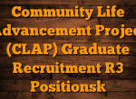 Community Life Advancement Project (CLAP) Ongoing recruitment: Apply Now