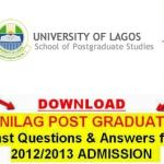 Unilag Postgraduate Past Questions and Answers | Download Unilag Msc,  Pgd and Phd Past Questions and Answers