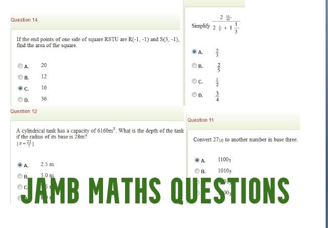 JAMB Maths Questions