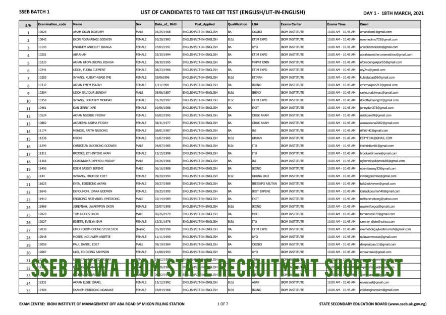 sseb Akwa Ibom State Recruitment Shortlist