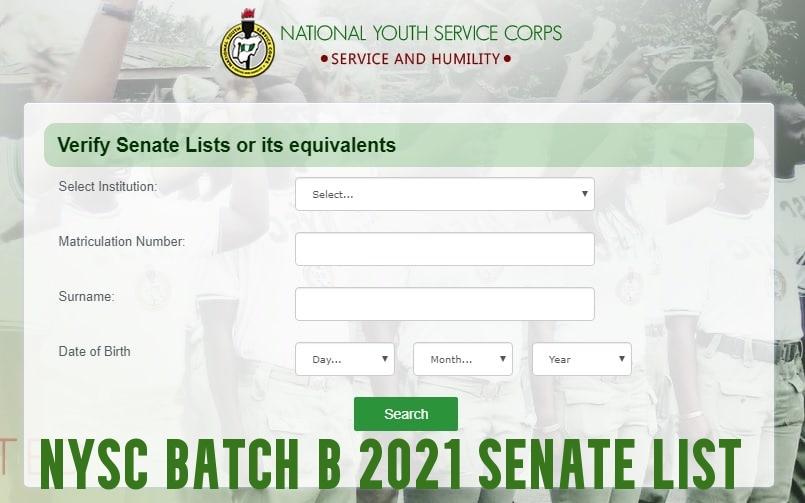 NYSC Batch B 2021 Senate List